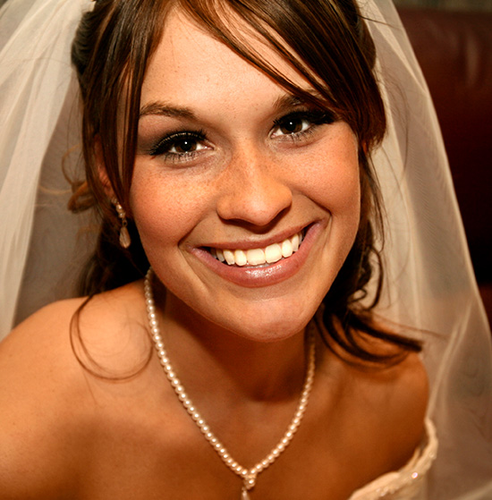 Smiling bride with gorgeous teeth