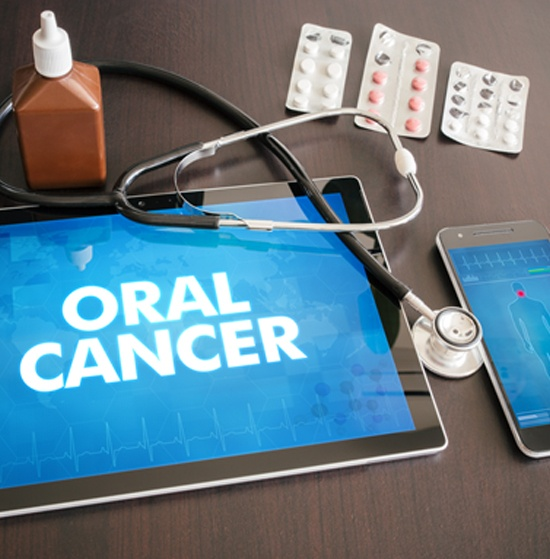Tablet that reads 'Oral Cancer'